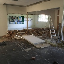 Entrance During - part of wall removed