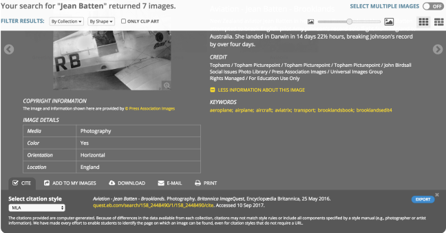 Screenshot Britannica Image Quest