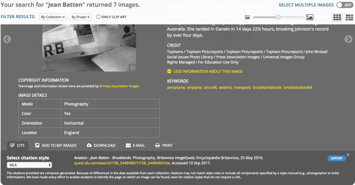 Screenshot Britannica Image Quest